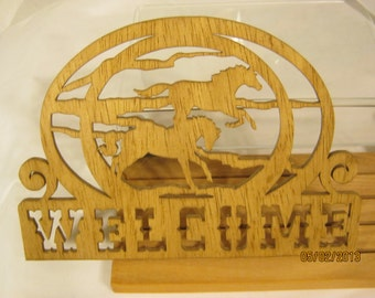 HORSES WELCOME  Scroll Saw PLAQUE