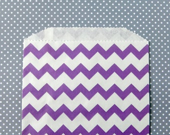 Purple Chevron Goody Bags / Favor Bags / Treat Bags (20) - 5 x 7.5 inches - Midi Size