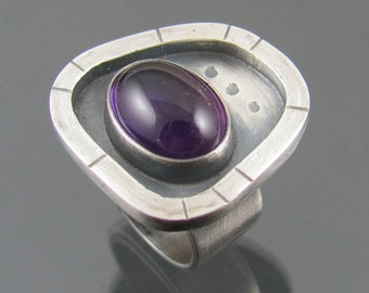 amethyst apocalyptic ring - amethyst gemstone sterling silver cocktail ring - amethyst ring