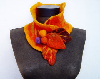 SALE eco friendly felted autumn leaves collar scarf