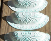 FREE SHIPPING 6 Bin Cup Pulls Ivory Off  White with Patina Accent Shabby Distressed Cottage