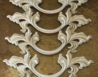 FREE SHIPPING 12 French Provincial Drawer Pulls with 3 Inch centers White and Gold Distress