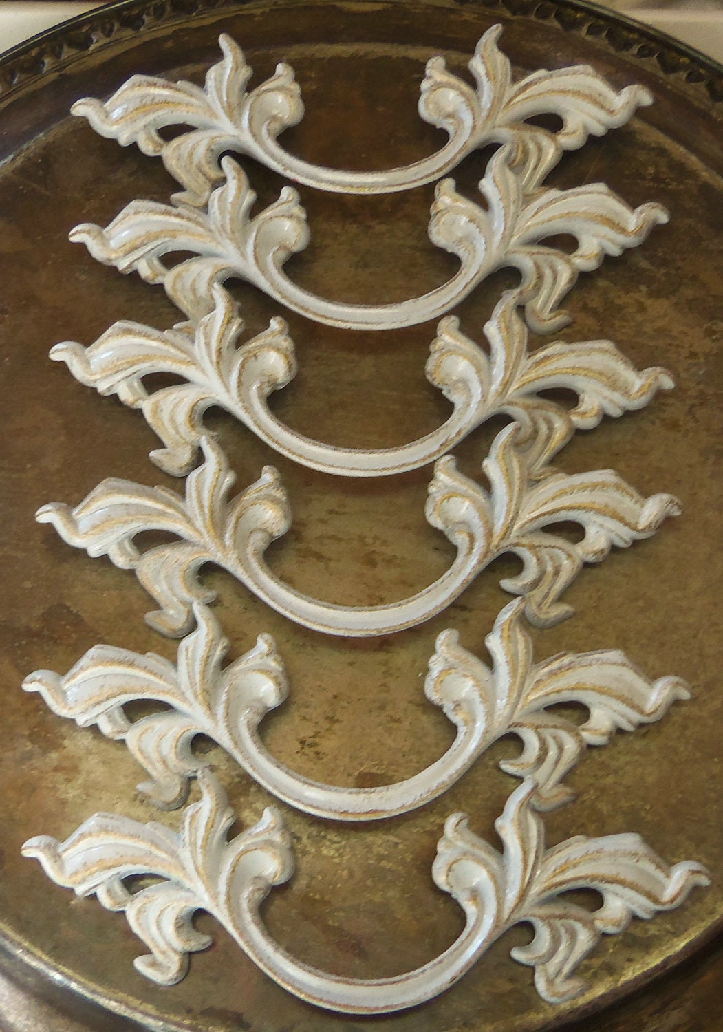 6 French Provincial Drawer Pulls White Shabby By Prettyware