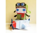 DIY  - Paper Toy Box  - Pilot and Airplane -Printable PDF 300dpi digital file