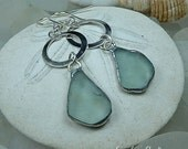 Circle Love, soft green, sea glass earrings, beach glass, seaglass