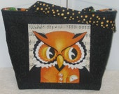 ON SALE Whimsical Wise Owl Large Tote Orange and Black Purse Ready To Ship