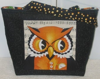 Whimsical Wise Owl Large Tote Orange and Black Purse Ready To Ship