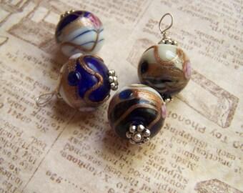 Lampwork Wedding cake bead dangles loops pendants charms