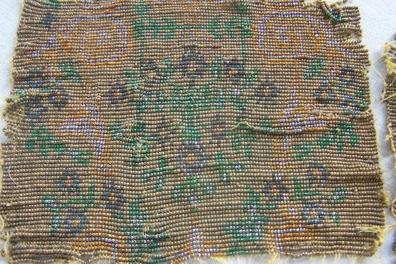 Antqiue French steel cut beaded purse swatch panel  4 Bead Stock Copper Gold Green Nice