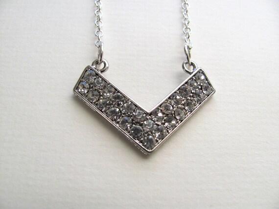 Sparkling rhinestone chevron pendant necklace on silver chain