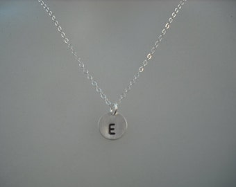 Personalized, Hand stamped initial disc necklace - Sterling silver