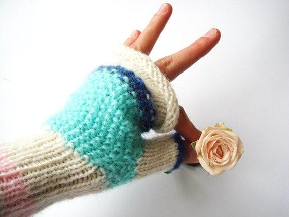 Fingerless gloves, green mint gloves, mittens, mitts, fall, winter accessory, women fashion