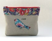 Zippered Purse Pouch, Vintage Feedsack Fabric and Unbleached Cotton, Turquoise Bird Applique