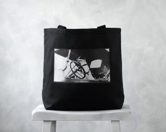 Driving Dog | Jack Russell Terrier | Black or Natural Canvas Bag | Vintage Photograph |  Carryall Tote | School Bag
