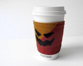 Halloween Coffee Cozy Orange Pumpkin Coffee Cozy Jack O Lantern Recycled Necktie