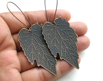 Charcoal Blue Hand Painted Leaf Earrings