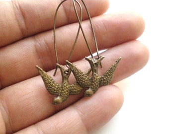 Antique Brass Swallow Earrings