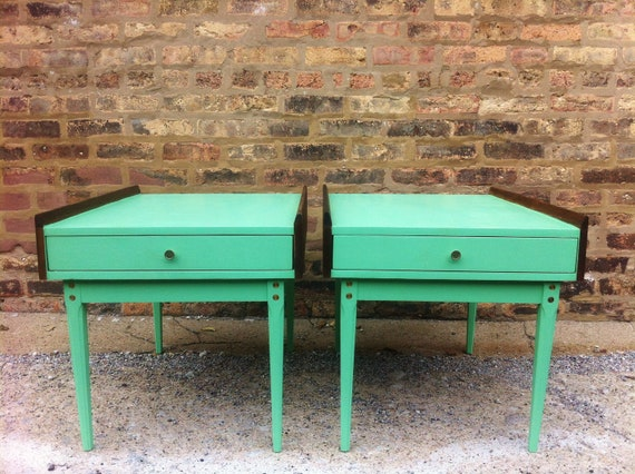 Mid Century End Tables In Spearmint