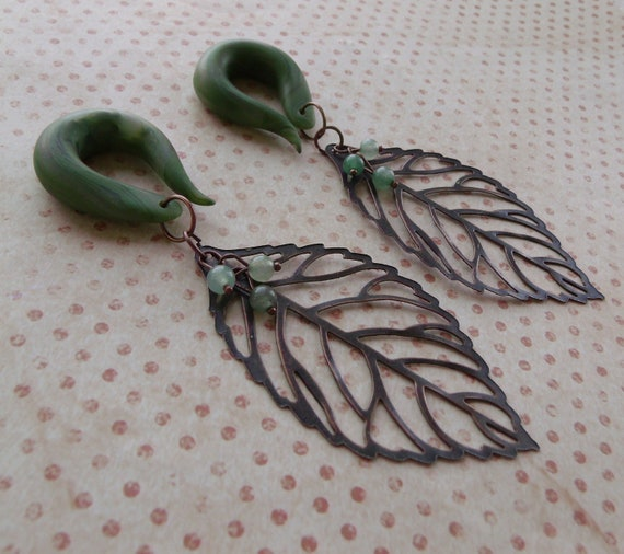Budding  Leaf Gauged Earrings