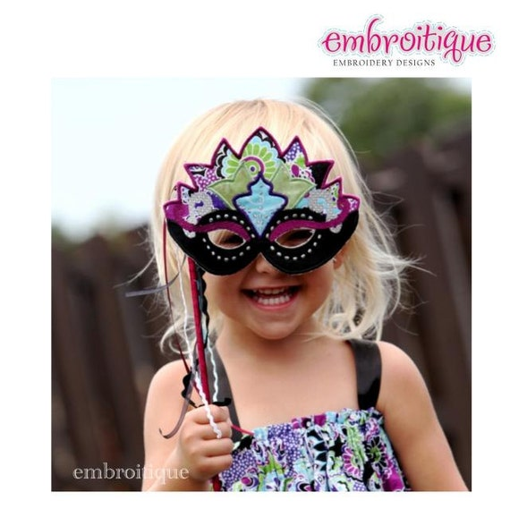 Princess Mask set - Halloween - Mardi Gras- Instant Email Delivery Download Machine embroidery design