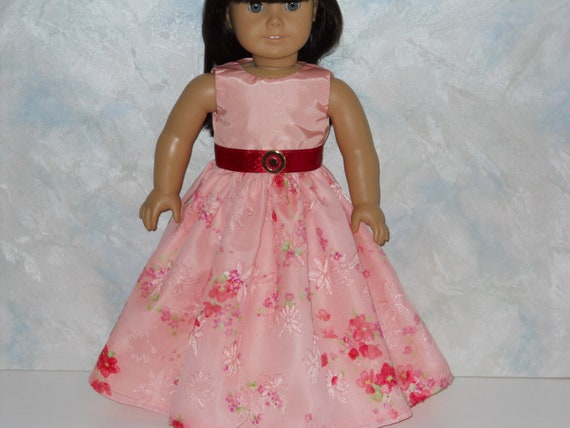 American Girl doll clothes, 18 inch doll clothes,  Peach/Red Special Occasion Dress