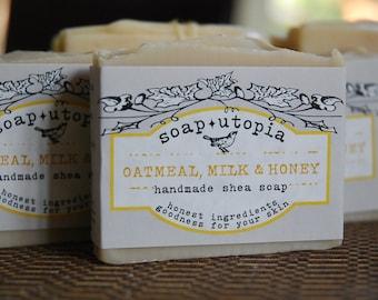 Oatmeal, Milk & Honey Handmade Shea Soap - cold process - 4 oz. bar - classic comfort