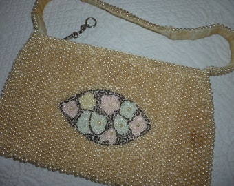 Old Beaded Pearl Purse ~ Pastel Flowers ~ Vintage Handbags ~ Small Carry Bags ~ Vintage Pearl or Beaded Purse ~ Evening Bag ~ SALE