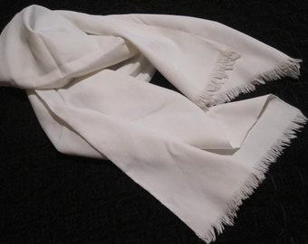 Long Ecru Off-white Silk Scarf with Fringe Oblong