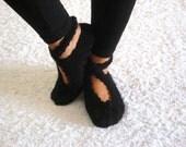 Black, Ballerina Slippers, Wool Slippers, Handmade Slippers, House Slippers, Womens Shoes