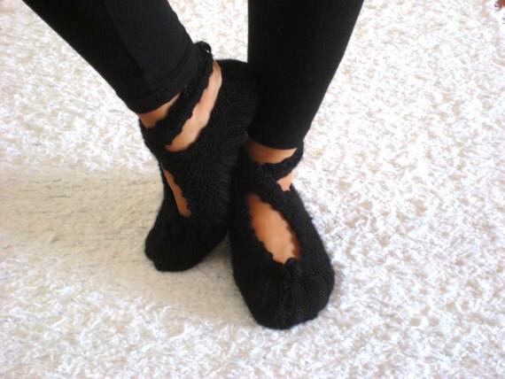 Black ,Ballerina Slippers, Wool Slippers, Handmade Slippers, House Slippers
