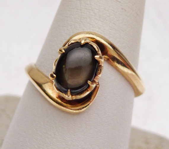 18k Black Star Sapphire Ring