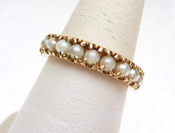 14k Pearl Eternity Band Ring