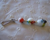 White and Millefiori Beaded Zipper Pull or Purse Charm Free Shipping