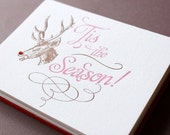 Tis The Season Letterpress Printed Holiday Cards With Inside Greeting QTY/6