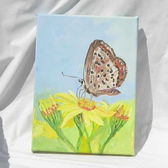 "Art,Painting, Acrylic Painting, 9x12 inches,Wrapped Canvas,Nature,""Just A Moth"""
