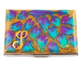 Monogram Business Card Case Hand Painted Enamel Fuchsia Peacock Inspired Metal Wallet Personalized and Custom Color Options