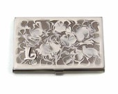 Business Card Case in Hand Painted Enamel White Swirl Design Metal Wallet Personalized and Custom Color Options