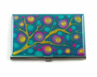 Business Card Case in Hand Painted Enamel Fuchsia Turquoise and Gold Blossom Inspired Metal Wallet Personalized and Custom Color Options