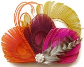 Gold, Tangerine and Fushcia Peacock Feather FALL BRIDE Bridal Hair Fascinator Clip with Yellow Peacock Sword