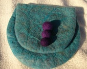 Hand made Merino wool clutch, handmade of ultra soft merino wool wet felted in turquoise, purple, green and blue