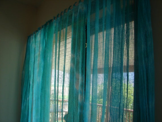 Custom dyed cotton gauze / scrim curtains