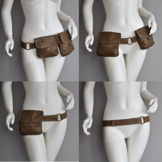 CGD Golden Brown Double Hip Bag with belt, UPCYCLED LEATHER