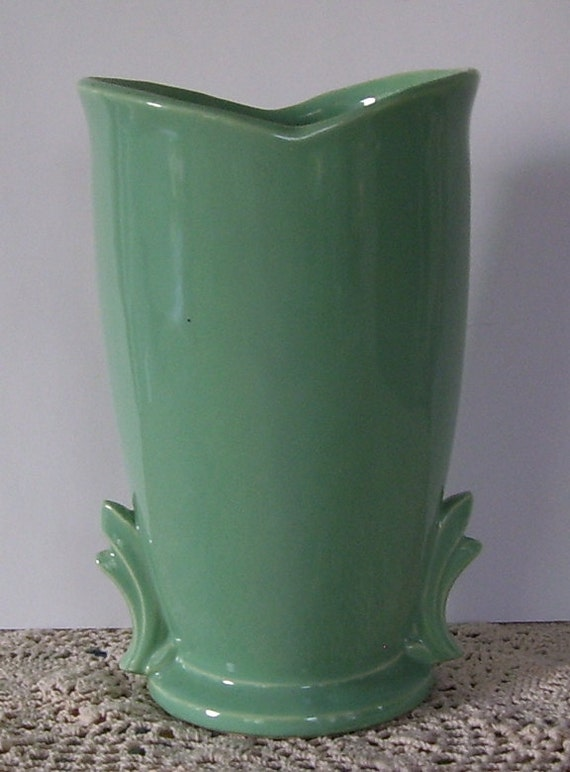 Tall Green Mccoy Pottery Vase By Swancreekcottage On Etsy