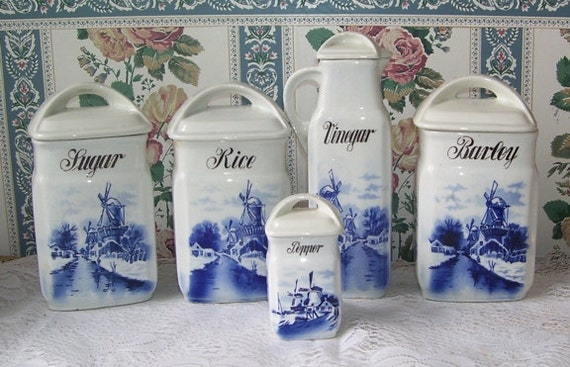 Antique Cobalt Blue 5 Pc Canister Set German By