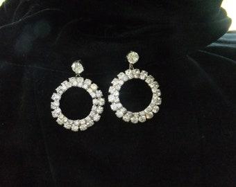 Vintage Earrings Screw Back Rhinestone Hoop Silvertone Costume Jewelry Silver Tone Formal