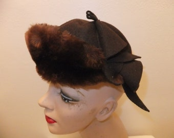 Vintage Hat Brown Wool with Faux Fur and Bow Retro Winter Cold Weather Ladies Accessories