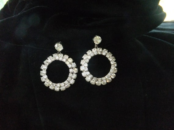 Vintage Earrings Screw Back Rhinestone Hoop Silvertone Costume Jewelry Silver Tone Formal