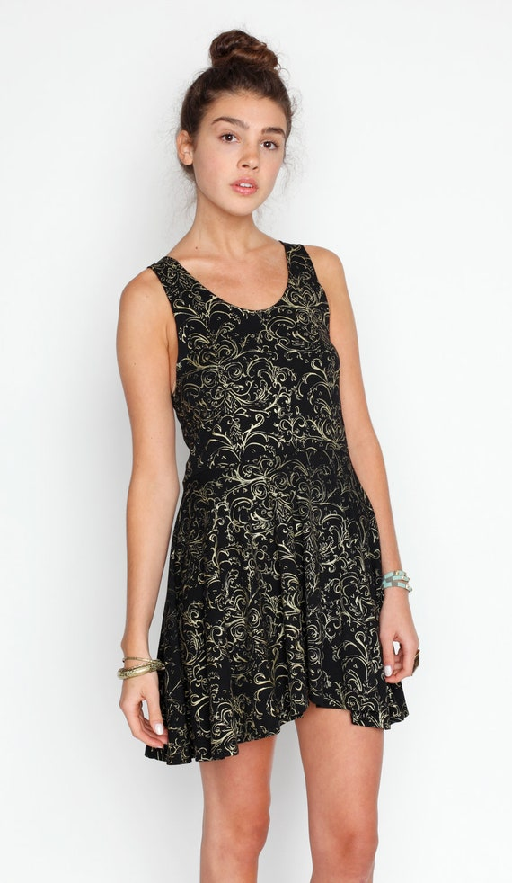 Hand Printed 'Baroque' Twirling Dress in Gold on Black