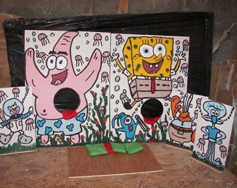 sponge bob and friends  3  games  with 10 bean bags