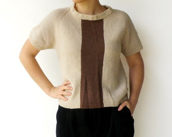 Vintage Knit Top / 1960s Sand and Brown Loose Sweater / Size L